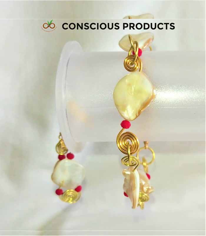 Mother of Pearl Necklace and Earring, Conscious Products & Services